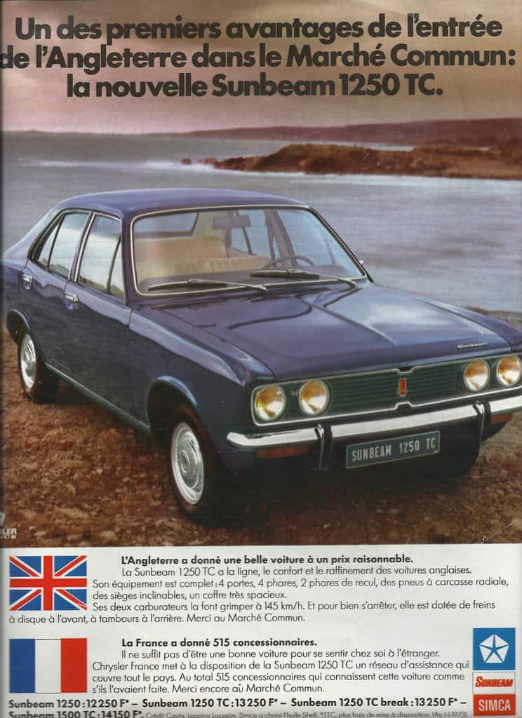 publicité de la Simla Sunbeam 1250 1973