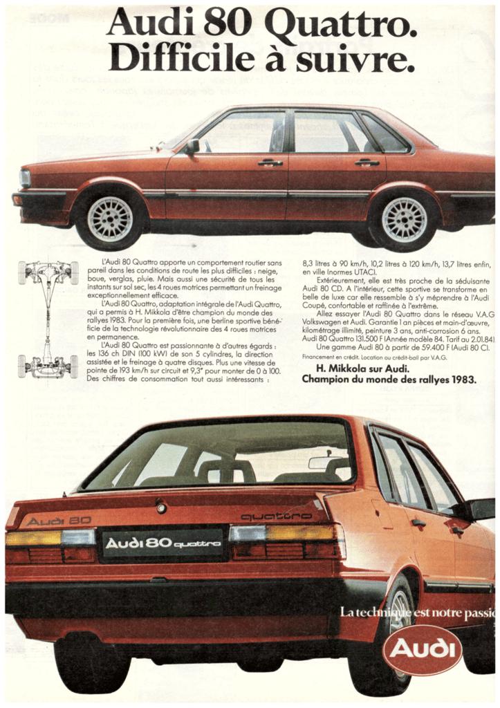 pub audi 80 Quattro magazine 1984