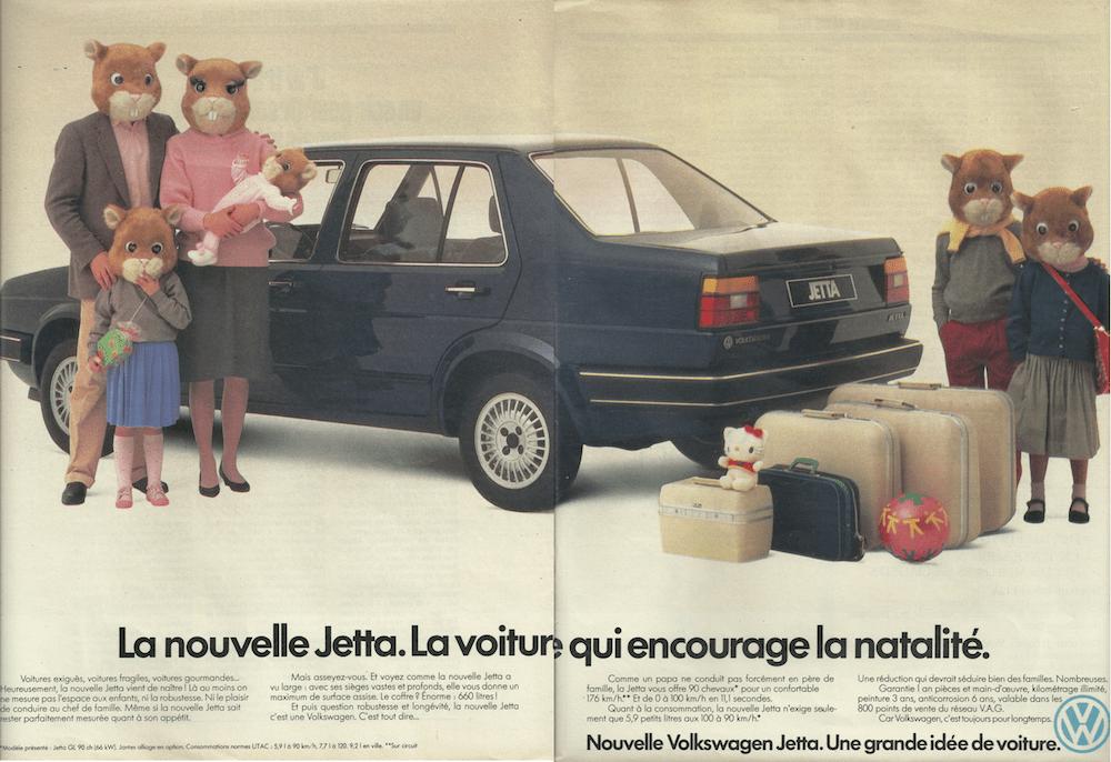 publicité de 1984 VW Jetta famille de 6 lapins
